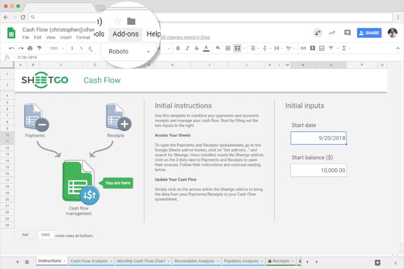 Sheetgo´s Cash Flow for Google Sheets
