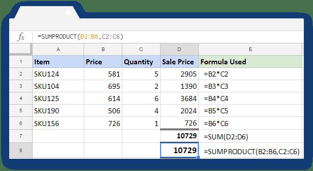 SUMPRODUCT Formula - Illustration 2