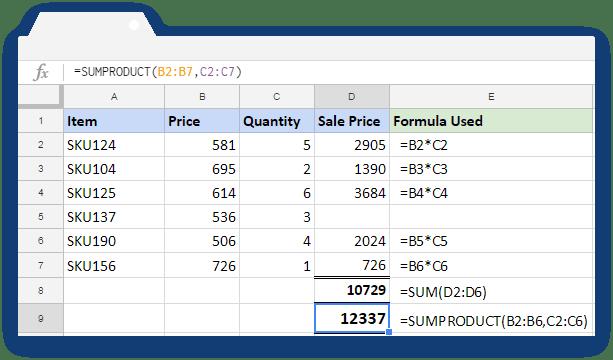 SUMPRODUCT Formula - Illustration 3