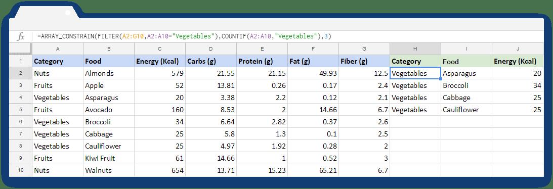 ARRAY_CONSTRAIN Formula: Use of Filter Formula