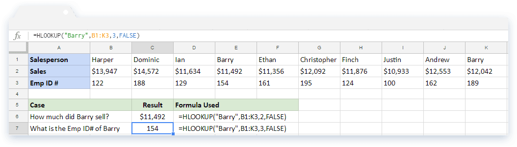 HLOOKUP Formula: Multiple Matches in The First Row