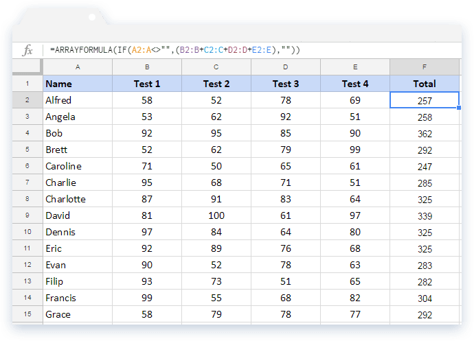Google Sheets Arrayformula: Automatic Calculation of the Total