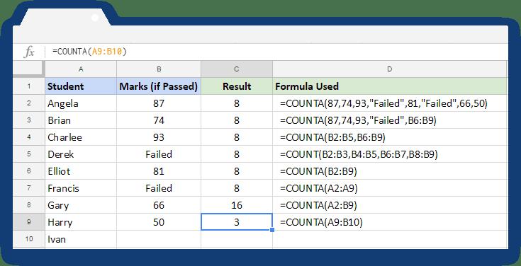 COUNTA Formula: Usage