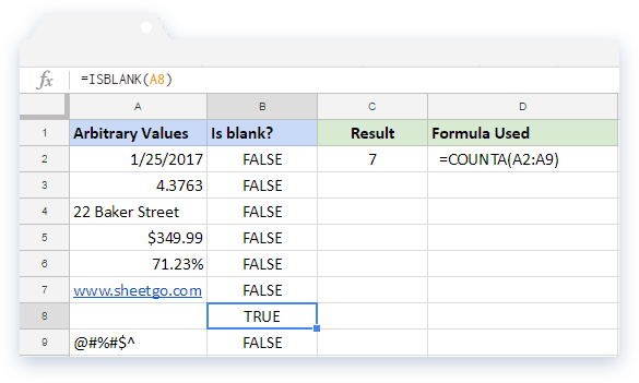 COUNTA Formula in Google Sheets