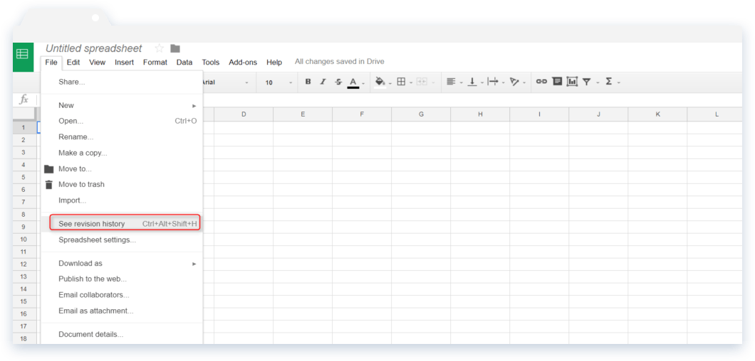 Spreadsheet Tips: Navigation to See Revision History