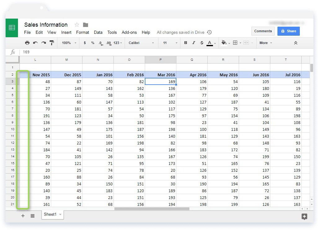 Freeze Rows and Columns in Google Sheets: Sample Data