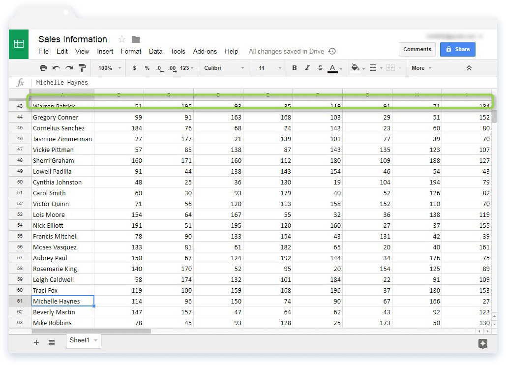 Freeze Rows and Columns in Google Sheets: Sales Information