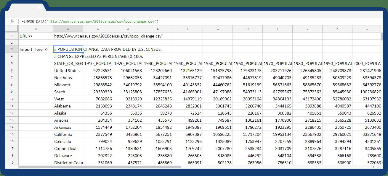 Google Sheets Importdata: Imported Data