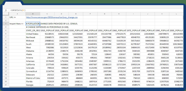 Google Sheets Importdata: Case 2