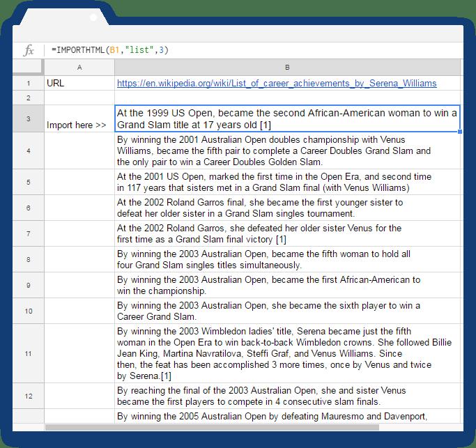 Importhtml Google Sheets: Case 2