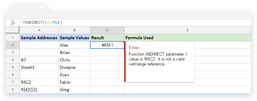 INDIRECT Formula in Google Sheets