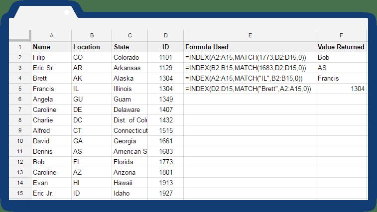 Index Match Formula: Same Data with a New Column