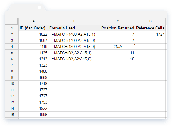 Variations of MATCH Formula with Sample Data