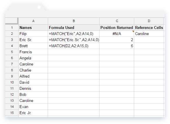 Index Match Formula: Text Values in Google Sheets