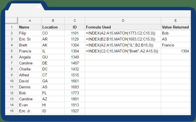 Index Match Formula