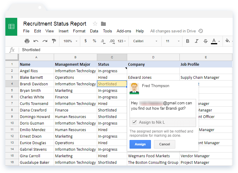Assign Task in Google Sheets with Comment