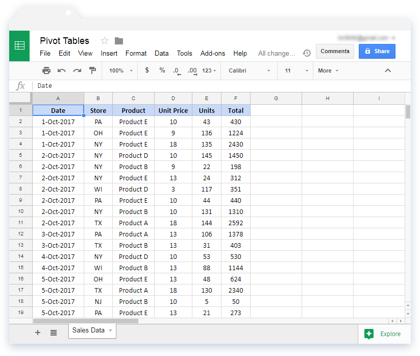 Products Details Sample Data in Google Sheets