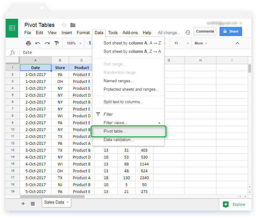 Pivot Table in Google Sheets: Navigation to Insert Pivot Table