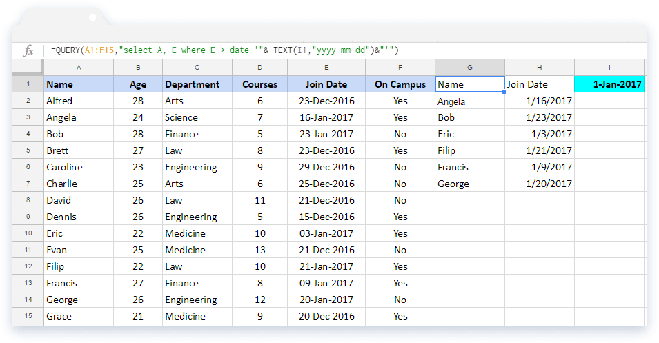 Google Sheets Query: Example 5