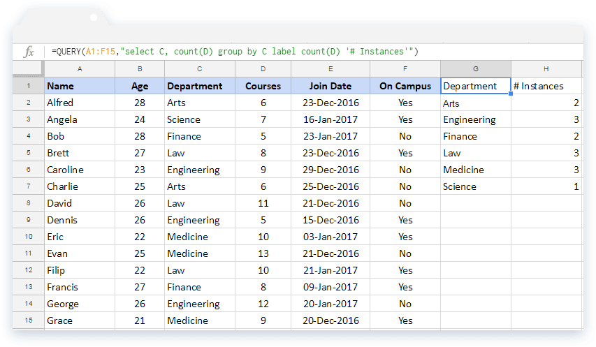 Google Sheets Query: Example 7