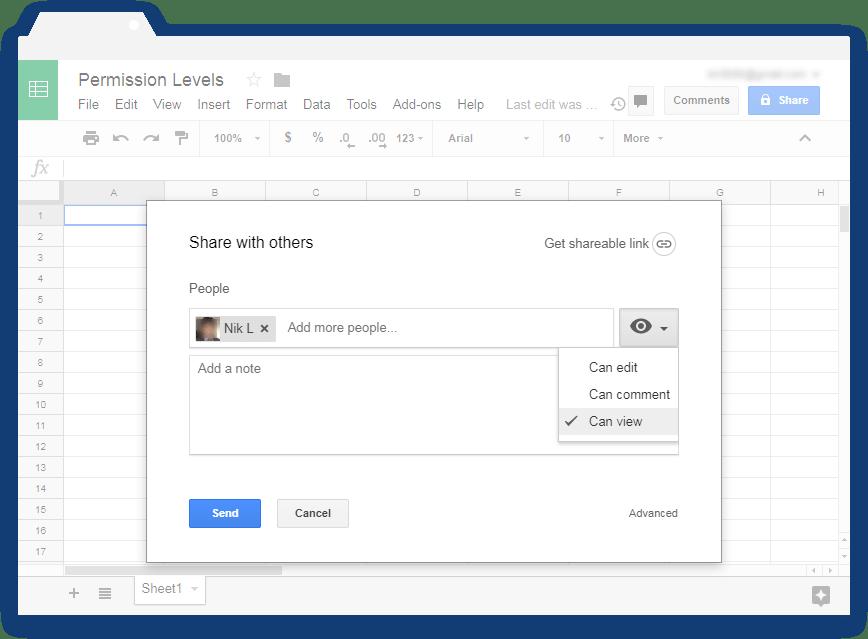 Google Sheets permissions levels - Illustration 4