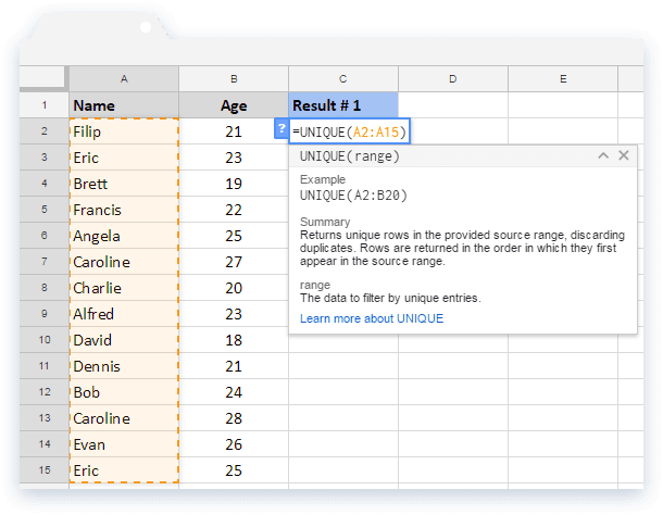 UNIQUE Formula: Name and Ages in Google Sheets