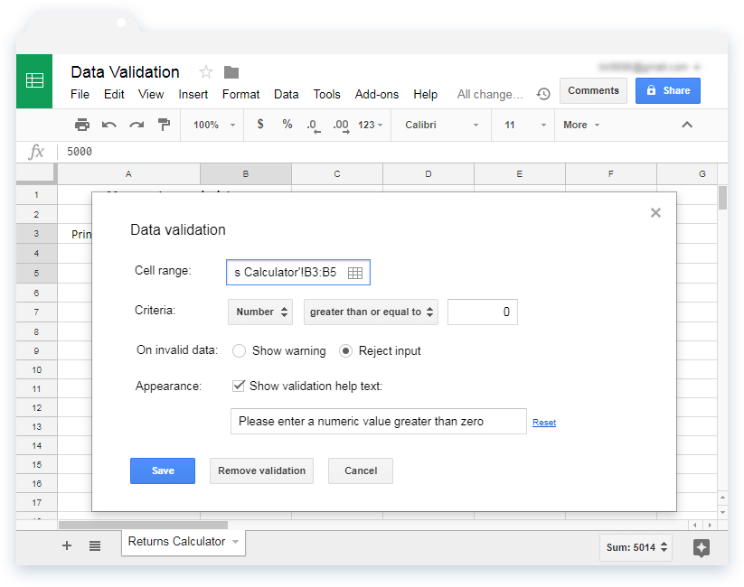 Validate input values in Google Sheets - Illustration 4