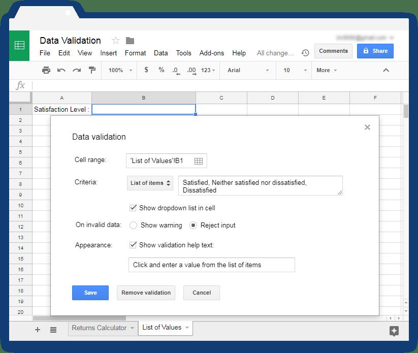 Validate input values in Google Sheets - Illustration 6