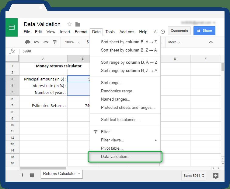 Validate input values in Google Sheets - Illustration 3