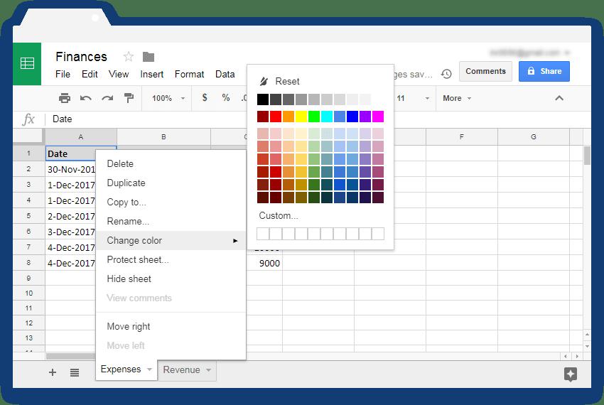Color Google Sheets tabs - Illustration 2