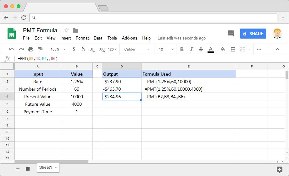 PMT formula in Google Sheets
