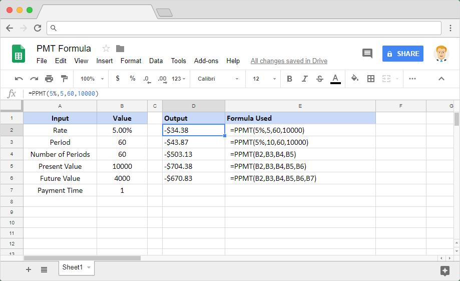 PPMT formula in Google Sheets