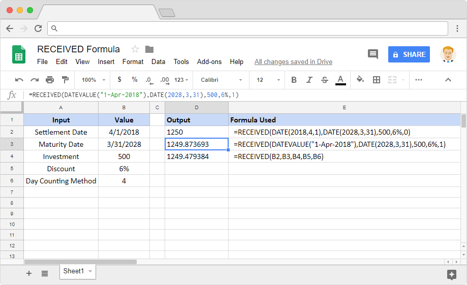 RECEIVED formula in Google Sheets
