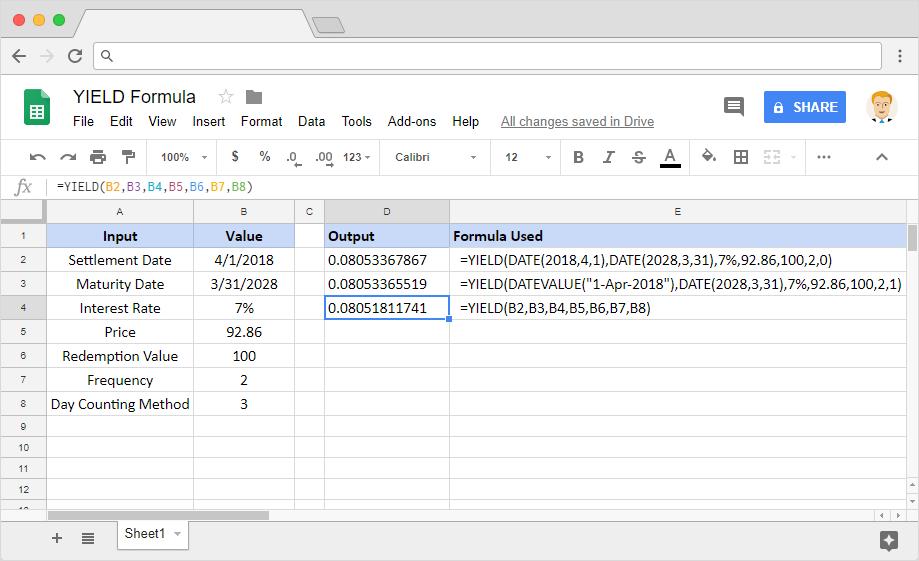 YIELD formula in Google Sheets