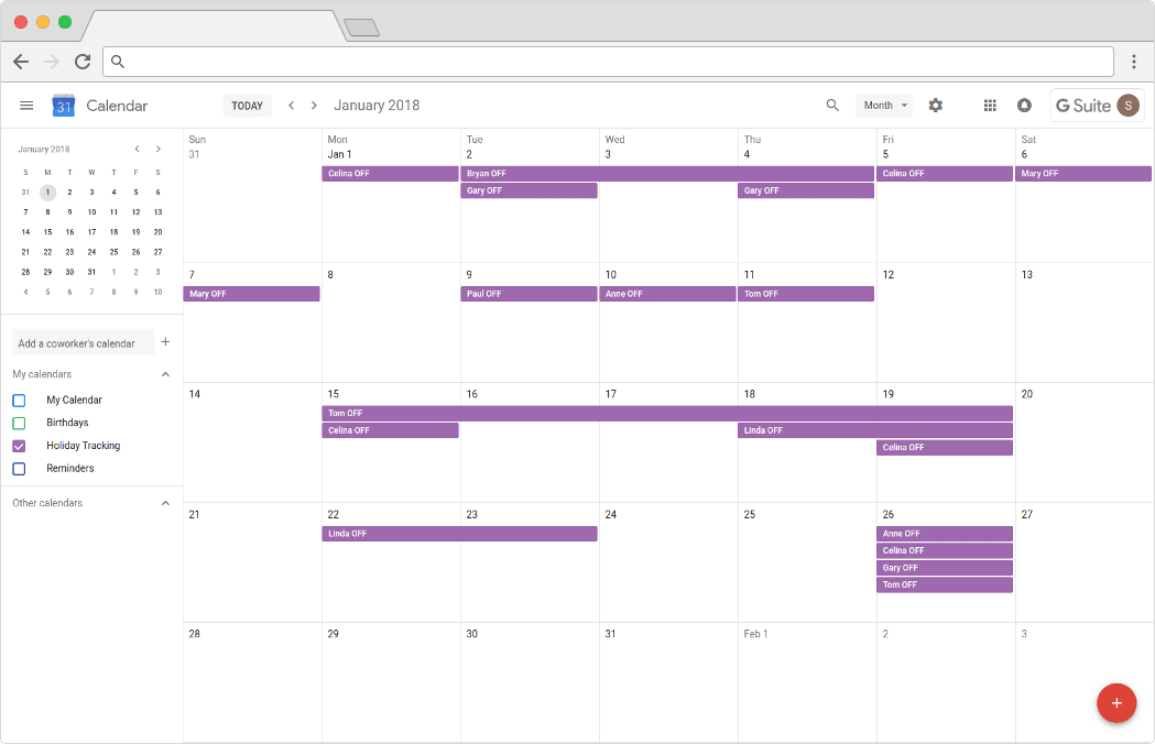 Holiday Tracking: Google Calendar