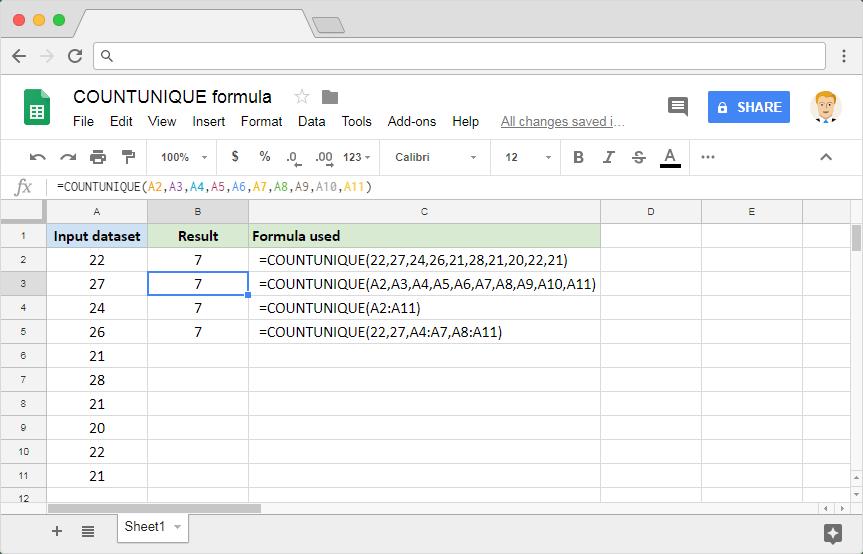COUNTUNIQUE Google Sheets: Usage