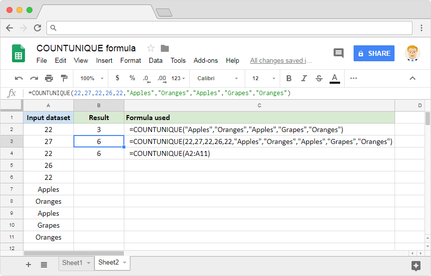 COUNTUNIQUE Google Sheets: Strings Input Values