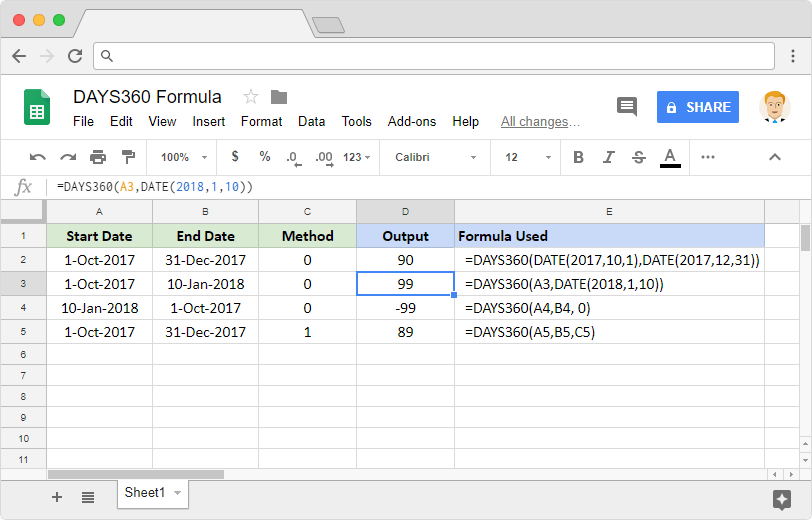 DAYS360 formula in Google Sheets
