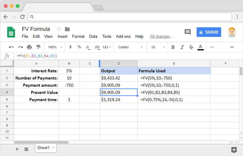 FV formula in Google Sheets