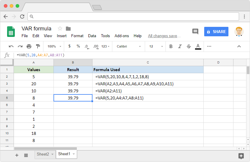 VAR Formula: Usage