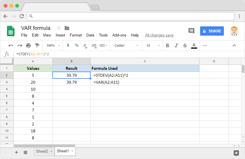 VAR Formula in Google Sheets