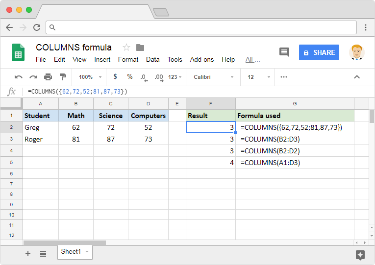 COLUMNS formula in Google Sheets