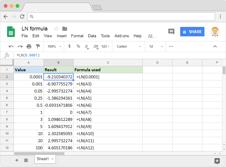 LN formula in Google Sheets
