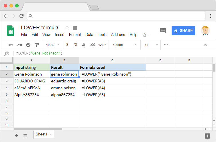 LOWER formula in Google Sheets