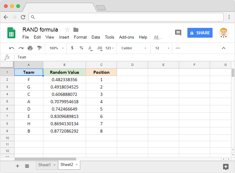 RAND formula in Google Sheets