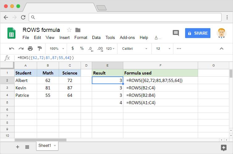 ROWS formula in Google Sheets