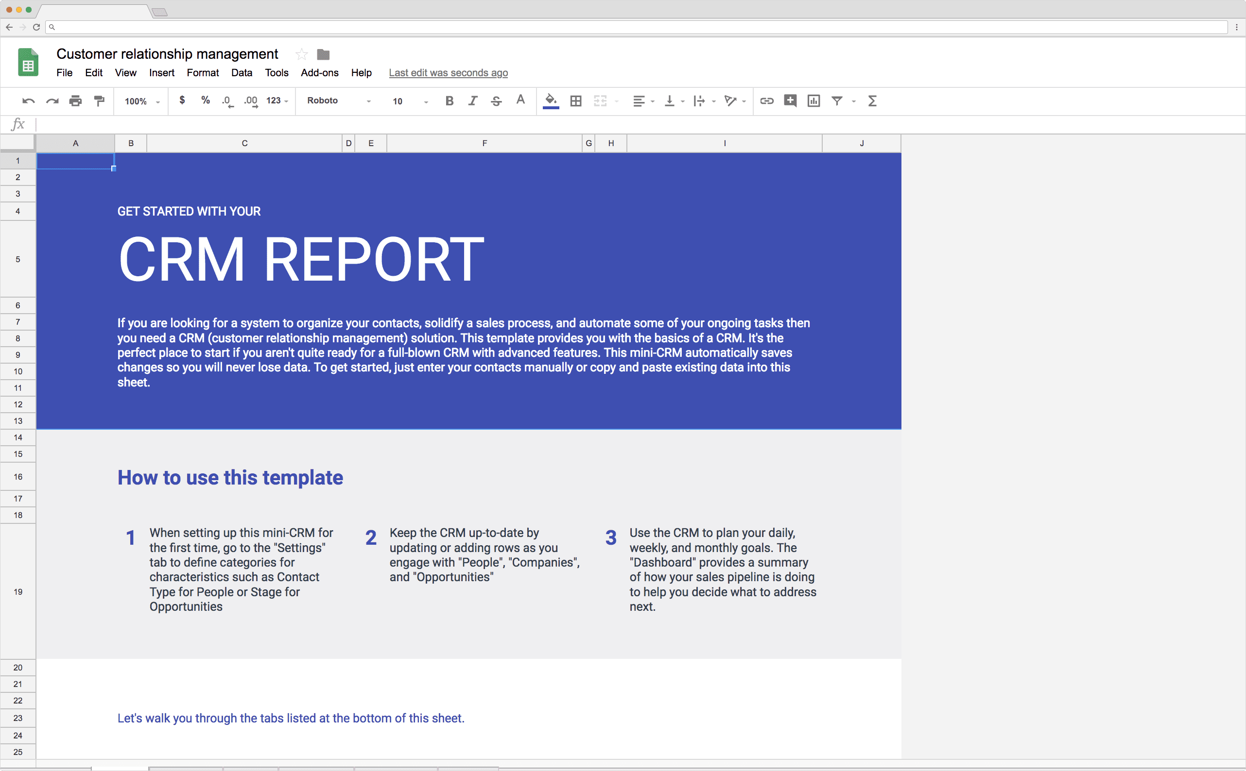 CRM Report Template in Google Sheets