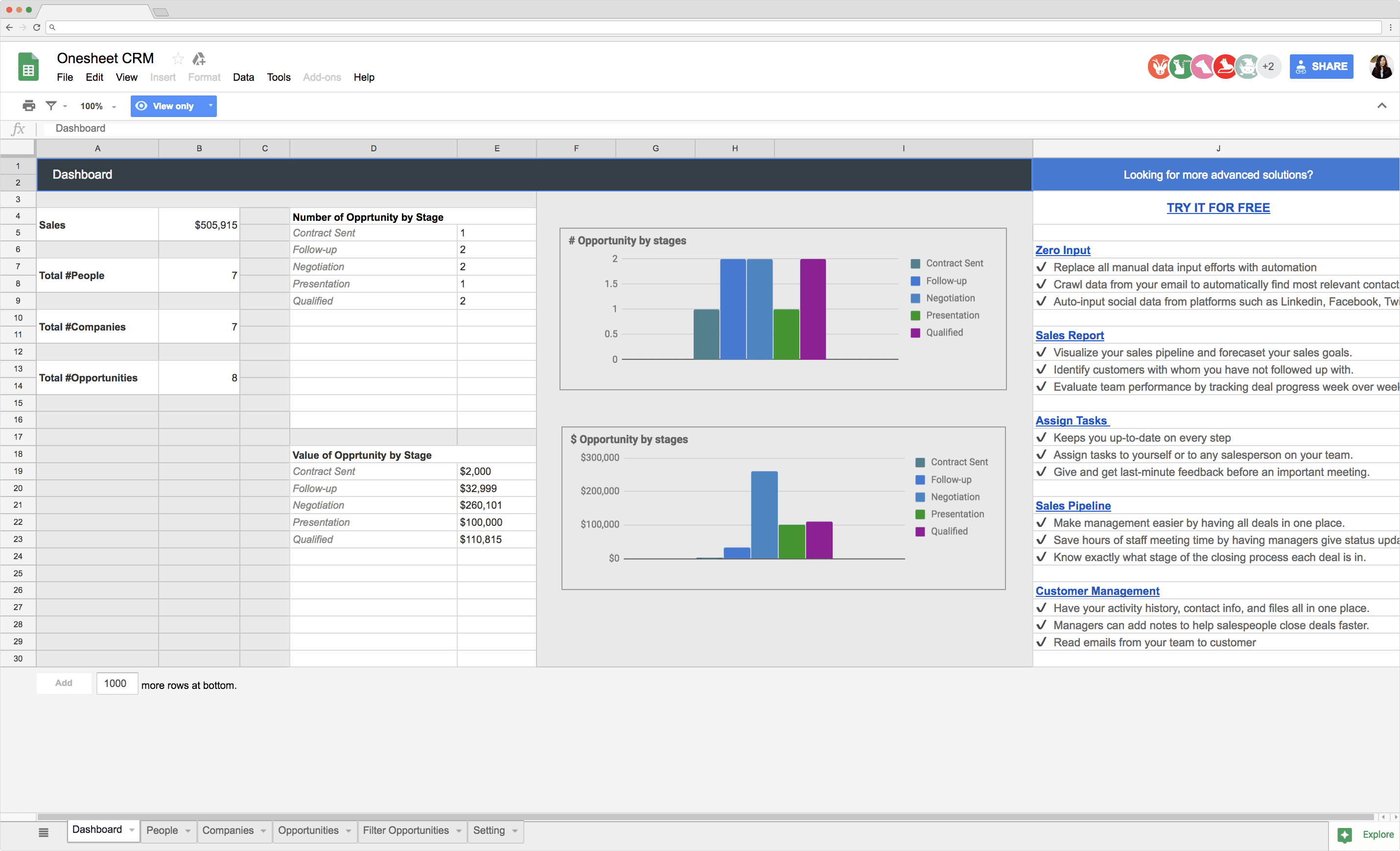 Sales Plan Template: Spreadsheet CRM with Sample Data