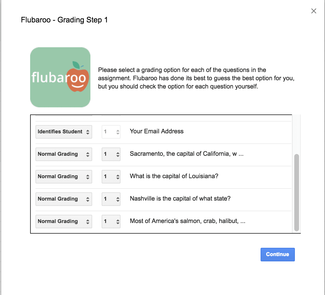 Flubaroo: Grading Step 1