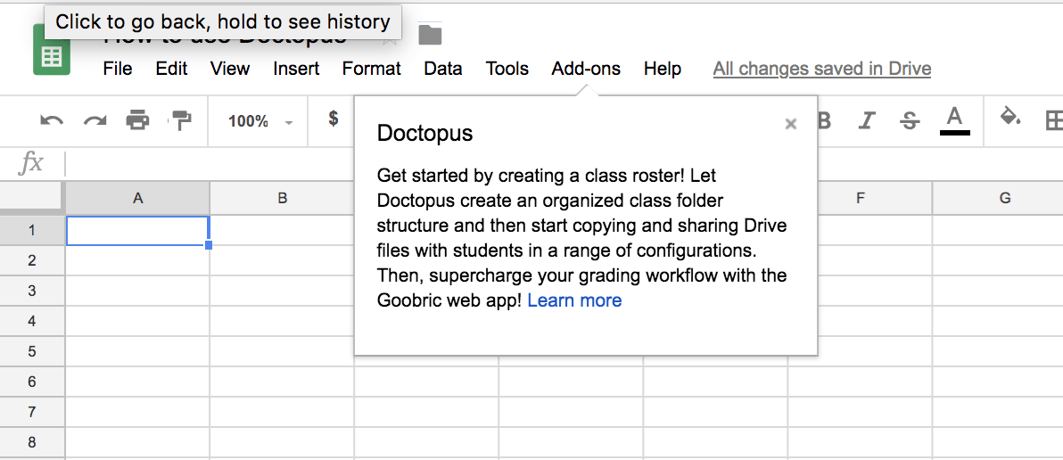 Snapshot of Doctopus Greeting Message in Google Sheets